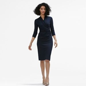 MM Lafleur Casey wrap dress navy blue body con